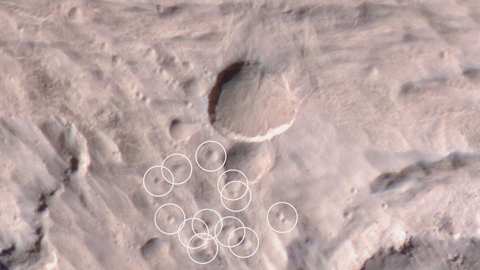 see the image 'Mars Weathercam Helps Find Big, New Crater'