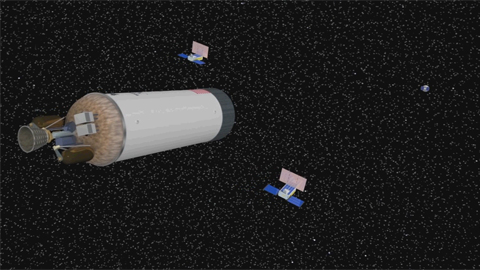 see the image 'MarCO: First Interplanetary CubeSat Mission'