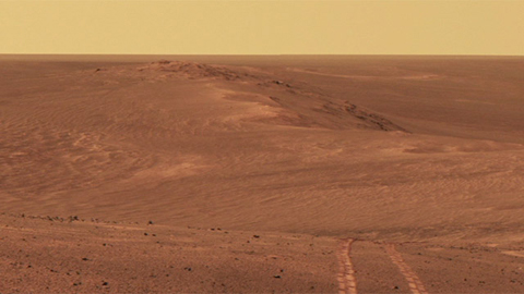 see the image 'Opportunity's Long Tracks on Crater Rim'