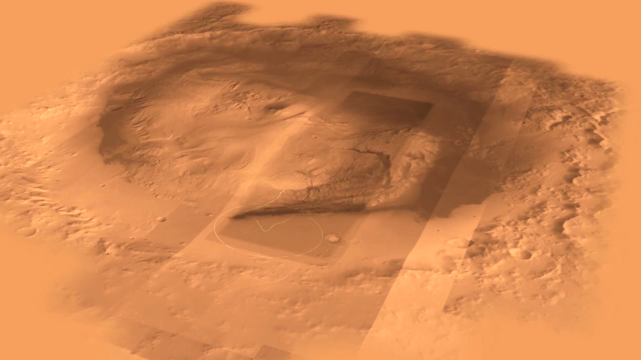 see the image 'Mars Science Laboratory Landing Site: Gale Crater'