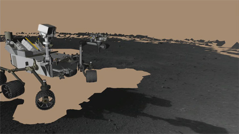 see the image 'Planning Curiosity's First Arm Moves on Mars'