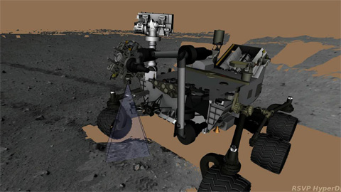 see the image 'Curiosity Working Its Arm'