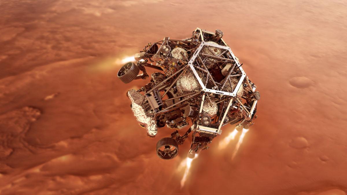 """La curiosità scende su Marte sotto il suo """"jetpack"""" a razzo, la fase di discesa."""