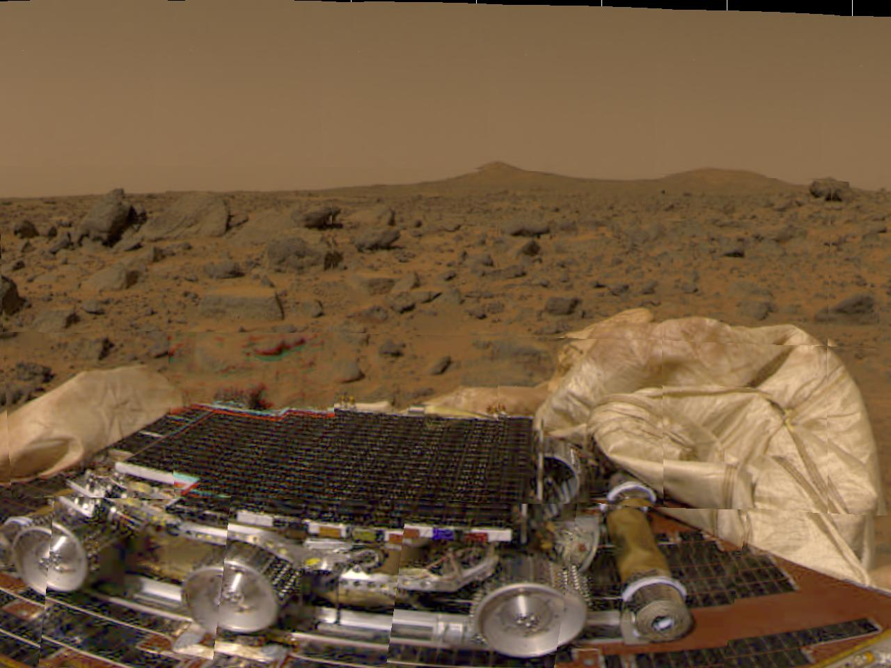 Mars Pathfinder picture taken shortly after touchdown Source: Mars Pathfinder Sol 1 (4 July 1997) Images 80811_full.jpg