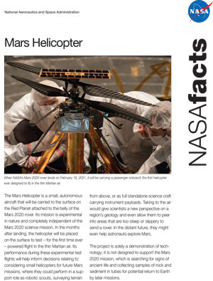 Mars Helicopter Fact Sheet
