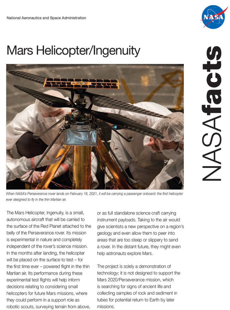 Mars Helicopter Ingenuity Fact Sheet