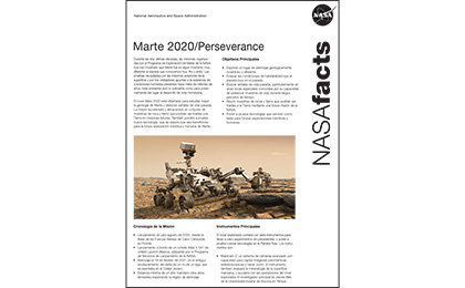 Click to download: Mars 2020 Perseverance Fact Sheet (Spanish)