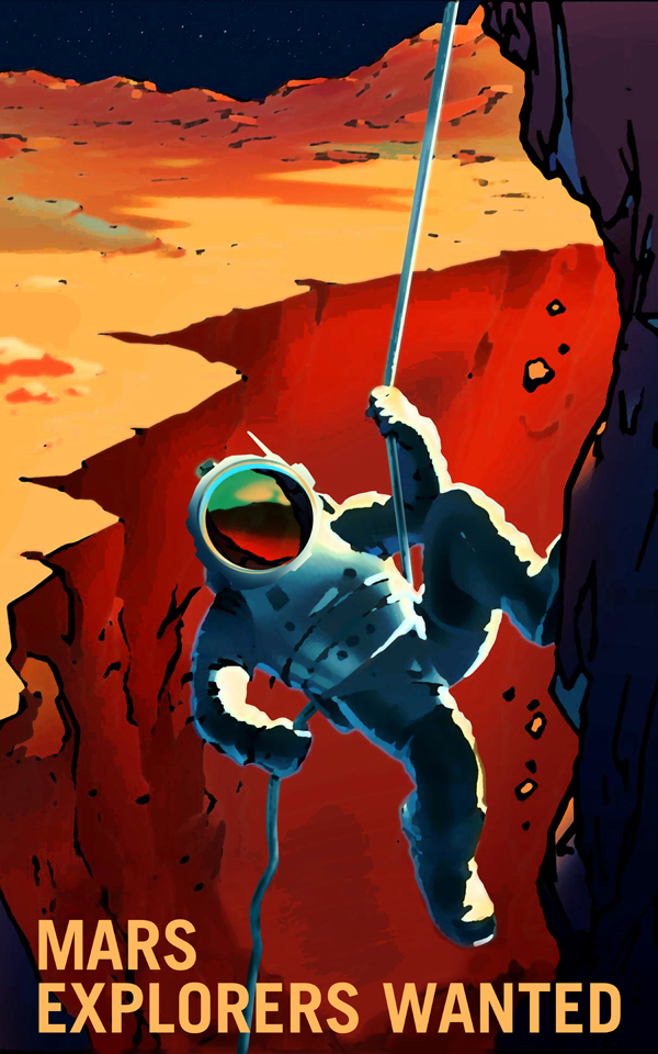 Artist's concept of an astronaut exploring Mars, rappelling down a canyon wall, with a Martian moon in the night sky.