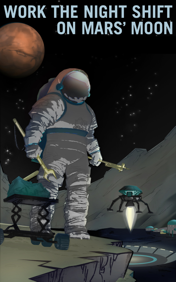 Artist's concept of an astronaut working on the Martian moon Phobos, mining materials, with a small ascent vehicle and Mars in the night sky.
