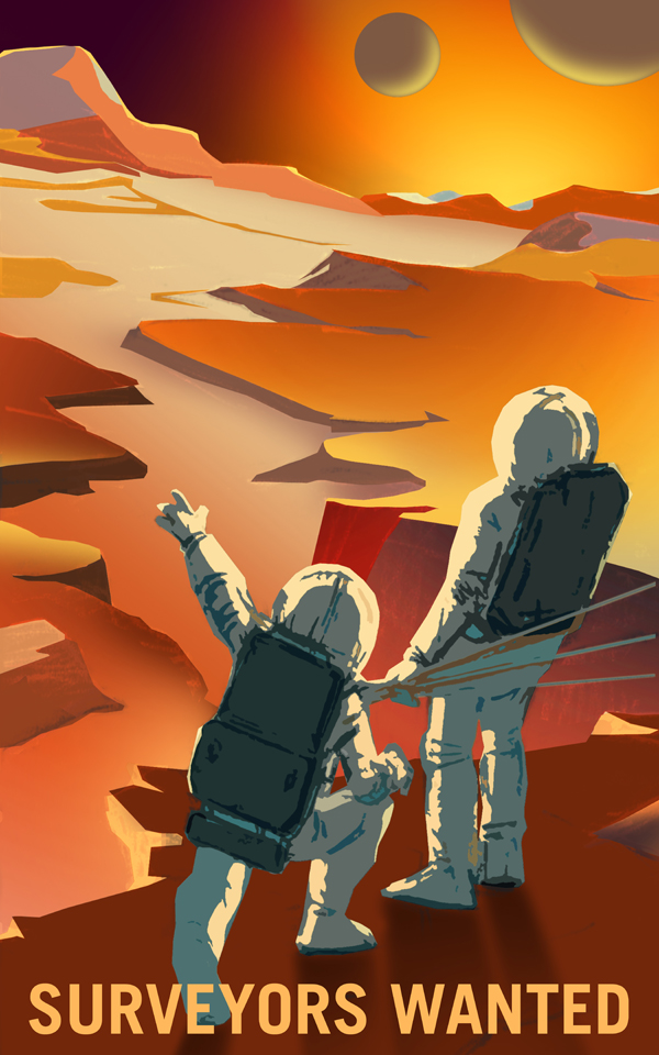 Artist's concept of two astronauts on a canyon ledge, gazing at a mountain horizon with two moons in the Martian sky.