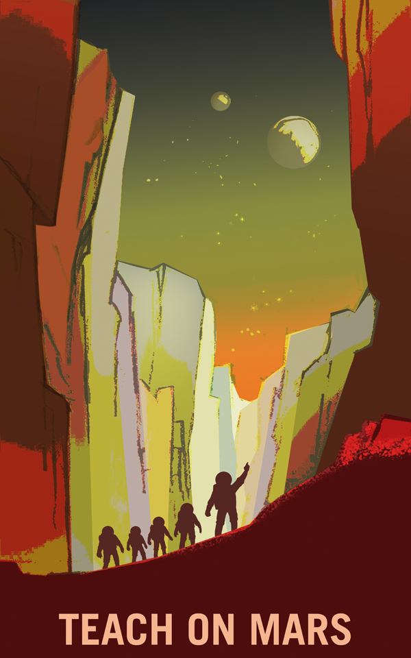 Artist's concept of a teacher astronaut leading a line of student astronauts into a canyon valley, observing the two Martian moons and inspiring wonder.