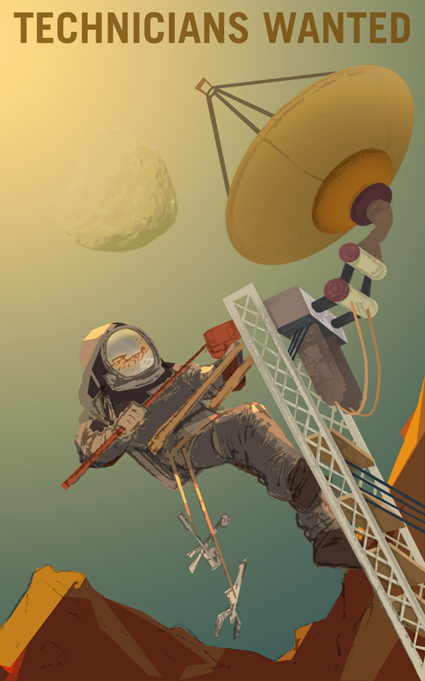 Heroic recruiting poster of a space-suited technician fixing a satellite dish on Mars