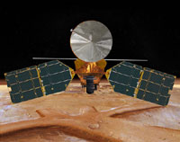 This image is an artist's concept of a front view of the Mars Reconnaissance Orbiter.