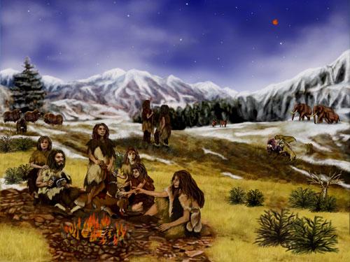 Cảnh tượng người Neanderthal 60 ngàn năm trước, với Sao Hoả đang toả sáng ở góc trên bên phải