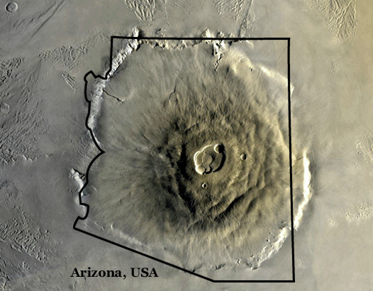 Image is a satellite photo of Olympus Mons with an outline of Arizona imposed over it. The volcano basically fills the entire state.