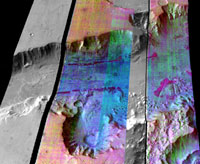 False-color infrared image of Ganges Chasma