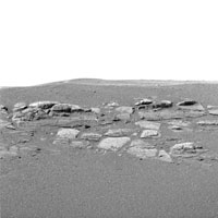 This high-resolution image captured by the Mars Exploration Rover Opportunity's panoramic camera shows in superb detail a portion of the puzzling rock outcropping that scientists are eagerly planning to investigate.