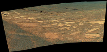 Opportunity's view down the slope of Endurance Crater.