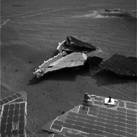 Opportunity views its heat shield