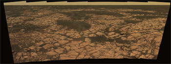 Opportunity view of an outcrop called Olympia along the northwestern margin of Erebus crater