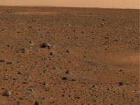 Martian horizon captured by the Panoramic Camera on the Mars Exploration Rover Spirit.