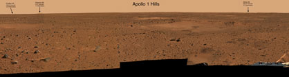 Hills near Spirit's landing site are named after the Apollo 1 crew. In the image above, the letter A indicates Chaffee Hill, B is Grissom Hill and C is White Hill.