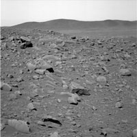 This image shows the rocky road the Mars Exploration Rover Spirit will travel to reach its ultimate destination - the Columbia Hills.