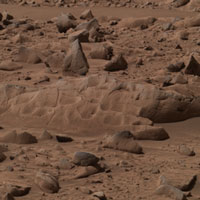 Approximate true-color image taken by the panoramic camera on the Mars Exploration Rover Spirit