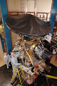 Image of the Mars Reconnaissance Orbiter being fitted with science instruments