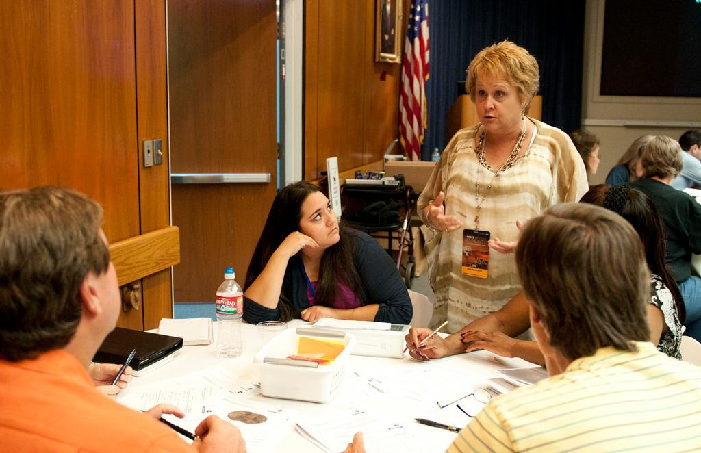 Sheri Klug Boonstra, director of the Mars Education Program at Arizona State University, leads a group of teachers through an analytical exercise.