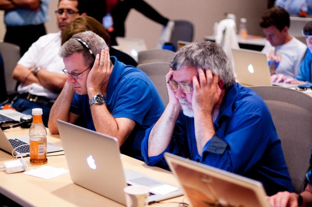 Scientists listen intently for status updates prior to Curiosity's landing.
