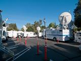 Satellite news trucks crowd the parking lots at NASA's Jet Propulsion Laboratory in Pasadena, Calif., on Aug. 5, 2012, in preparation for the Curiosity rover's landing on Mars.
