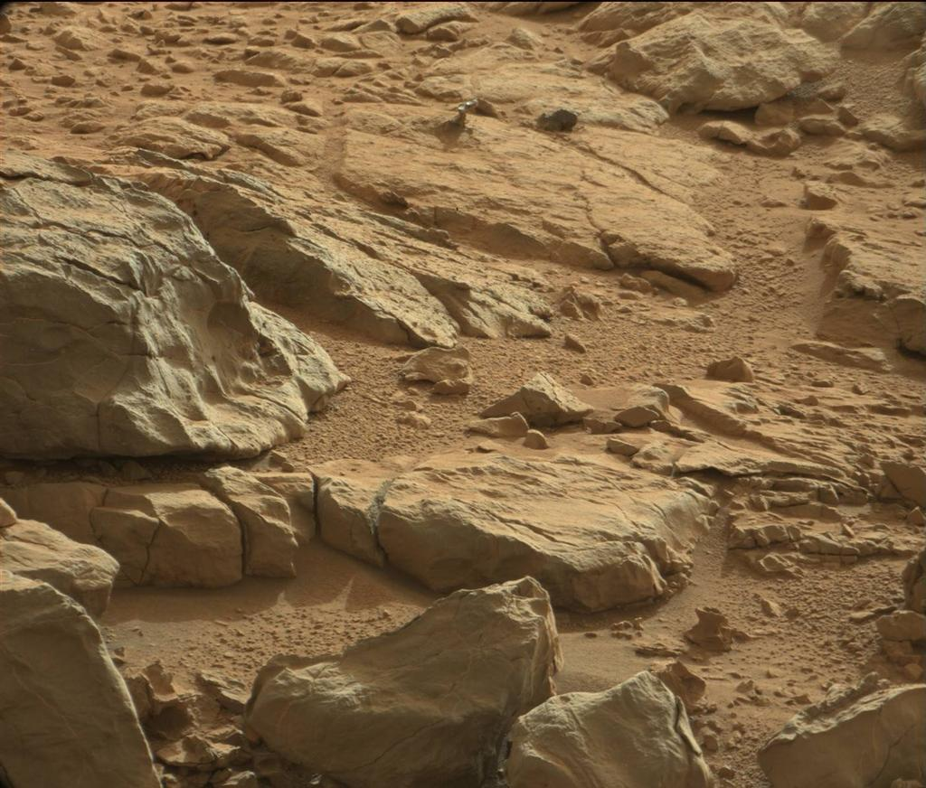A shiny-looking Martian rock is visible in this image taken by NASA's Mars rover Curiosity's Mast Camera (Mastcam) during the mission's 173rd Martian day, or sol (Jan. 30, 2013).