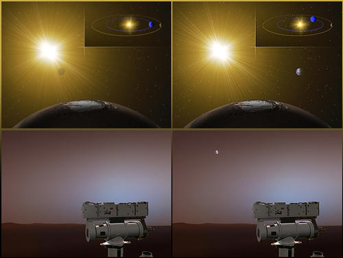 Though Earthlings will be able to get a good look at Mars during close approach, NASA's two rovers on Mars will not be able to see Earth. That's because at the moment, Earth is on the daytime side of Mars. As shown in the top half of this artist's rendering, when it's nighttime on Earth, it's daytime on Mars. After Earth passes Mars, the rovers will be able to see the sunlit side of Earth again just before dawn. The bottom half of this illustration shows what the rovers would see if they looked toward Earth.