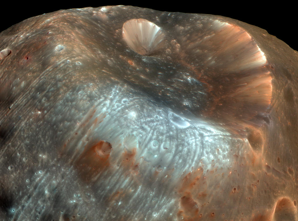 The large impact crater known as Stickney is the largest crater on the Martian moon Phobos.