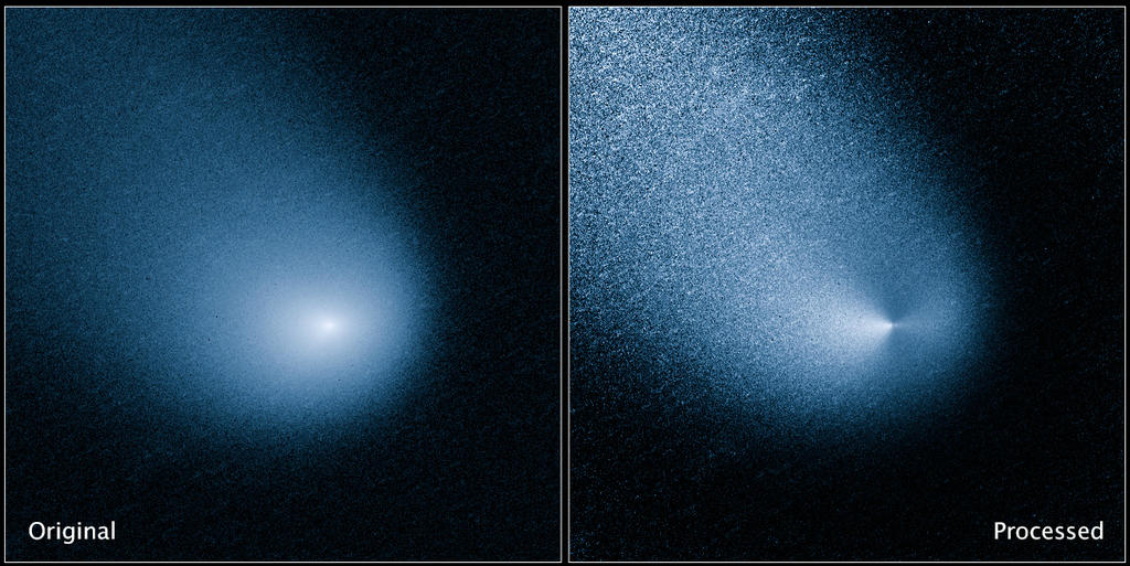 The images above show -- before and after filtering -- comet C/2013 A1, also known as Siding Spring, as captured by Wide Field Camera 3 on NASA's Hubble Space Telescope.
