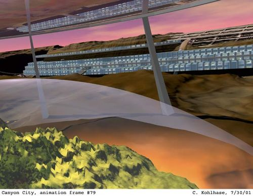 A frame from an animation showing your flight as it banks and barnstorms its path through the experimental forest station. Reflections of the human facilities can be seen in the underside of the huge lens used to concentrate the weak sunlight at Mars on the emerging forest.