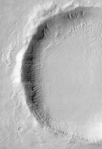 Gullies on martian crater, seen by Odyssey's Themis instrument