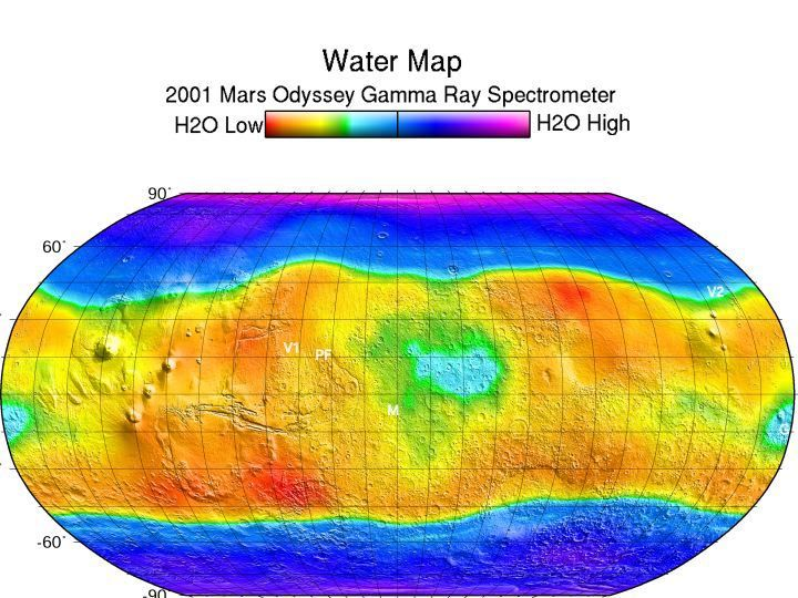 This map shows regions high in hydrogen at the north and south poles. The areas shown in blue and violet are believed to consist of 50% water ice by volume.
