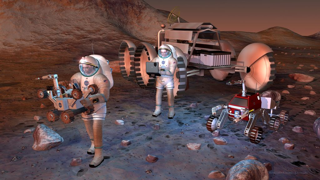 Artist's concept of future humans on Mars.