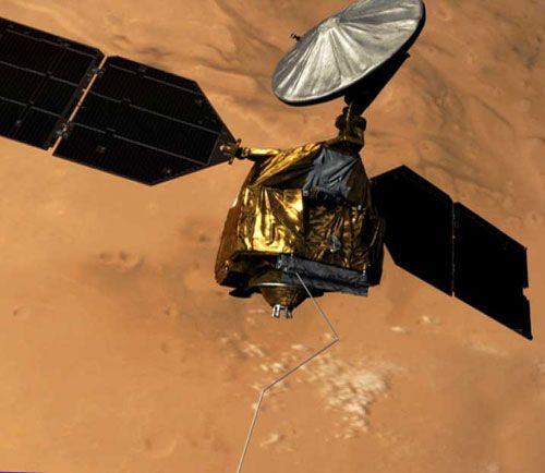 Artist concept of Mars Reconnaissance Orbiter during deployment of its radar antenna.