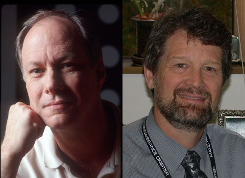 Image on the left: Jim Erickson. This image is a head-shot of a white man in his late forties or early fifties. He has brown eyes and grey hair, and he rests his head on his hand as he warmly smiles directly at the camera. He wears a white polo-style shirt. Image on the right: Jim Graf. This image shows Jim Graf smiling directly at the camera. He has thick brown hair and a brown beard. He has a broad smile and looks to be almost laughing. He wears a white dress shirt and a silver and black tie that is in the pattern of bricks.