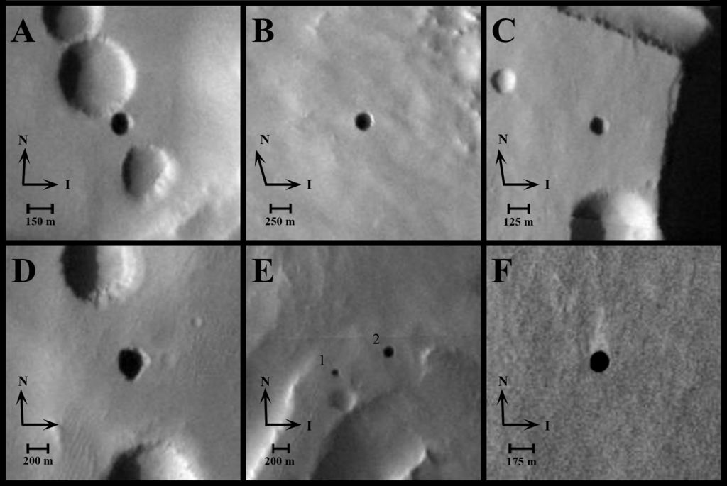 Seven Possible Cave Skylights on Mars