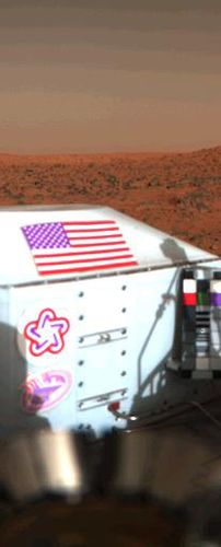 This color image shows the U.S. flag adorning the side of the Viking lander on the surface of Mars.