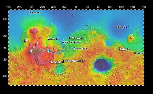Map showing 4 possible landing sites for MSL