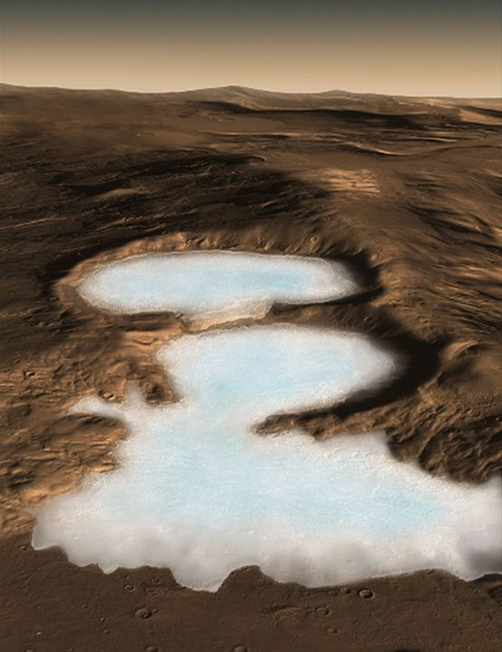 Artist concept of glacier on Mars.