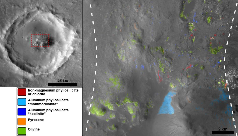 Stokes Crater, pictured here, is one of at least nine craters in the northern lowlands of Mars with exposures of hydrated minerals detected from orbit.