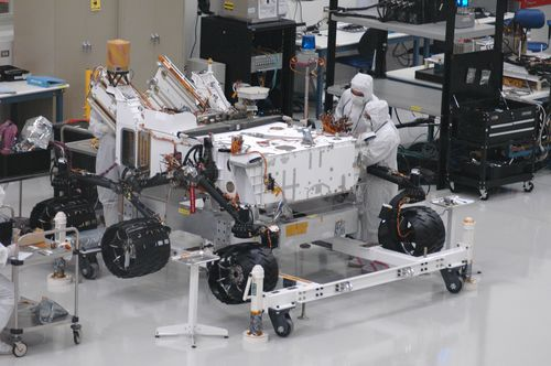 Mars rover Curiosity with newly installed wheels.
