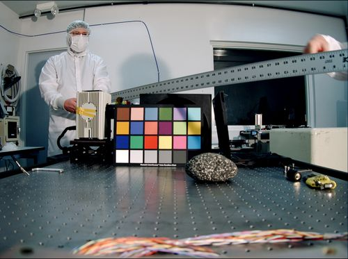 The Mars Descent Imager for NASA's Mars Science Laboratory took this image inside the Malin Space Science Systems clean room in San Diego, Calif., during calibration testing.