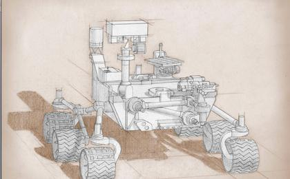 read the article 'Blue-Print-Style Rover Sketch, Artist's Concept'